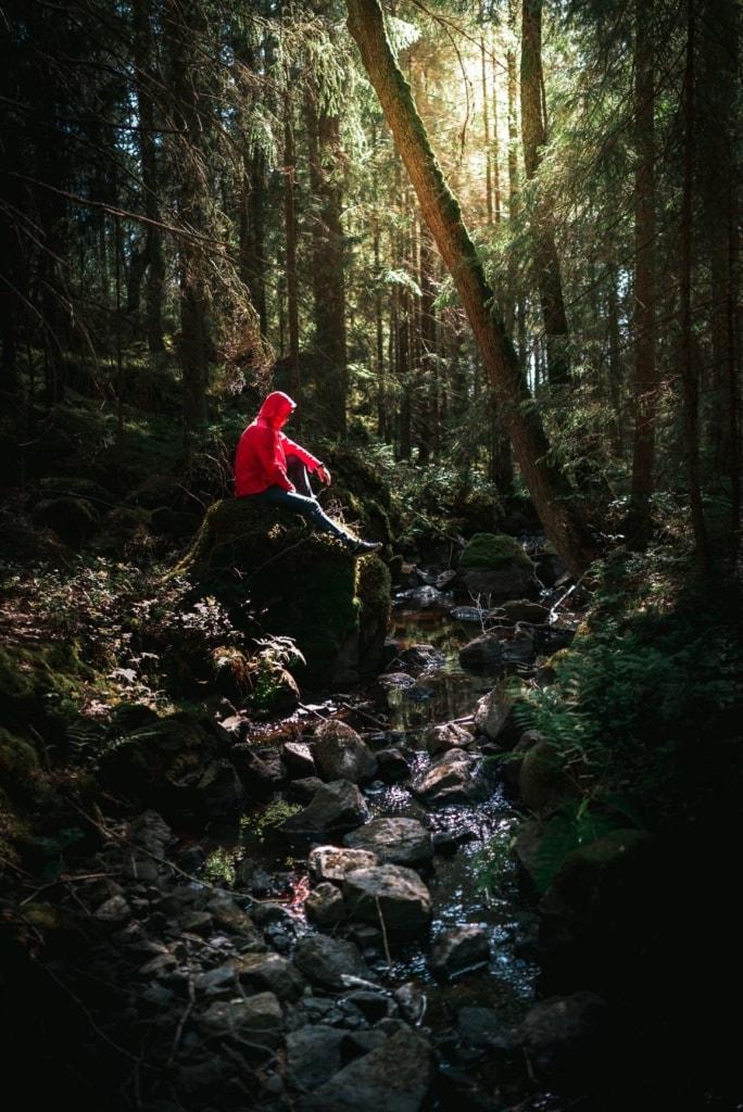 Mann sitzt in Schweden an einem Bach im Wald