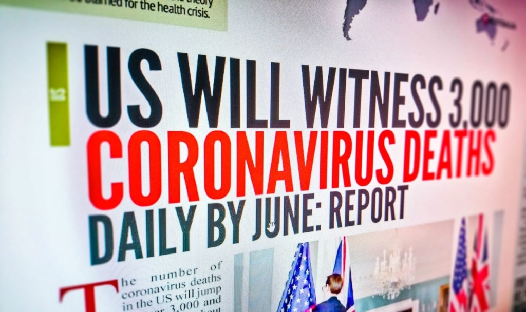 Ausschnitt aus Zeitungsartikel über Corona-Tote in USA