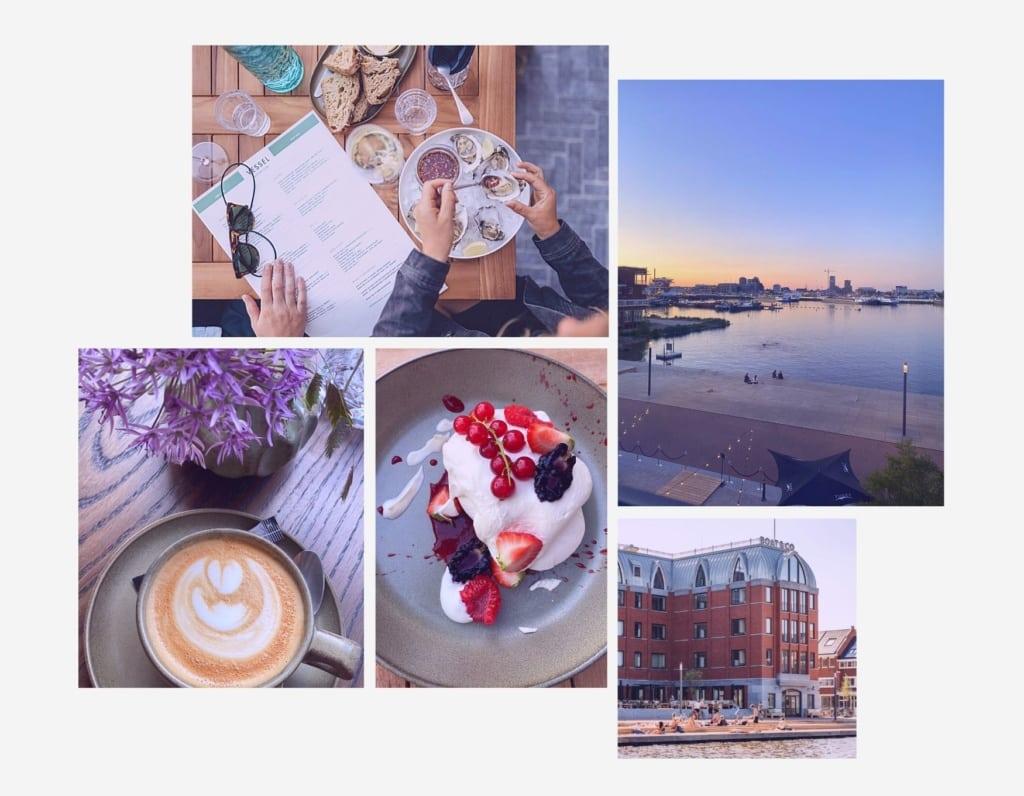 Collage aus Impressionen des Restaurant Vessel in Amsterdam beispielsweise mit einem Pavlova-Dessert mit Beeren