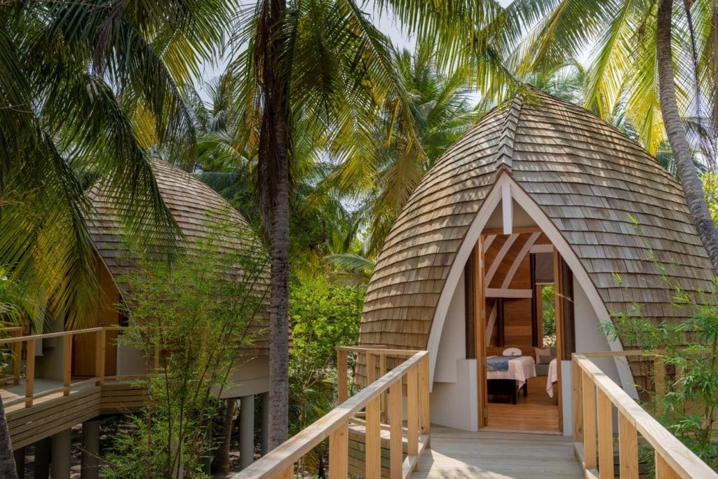 Eingang zum Spa im Luxusresort Faarufushi Malediven