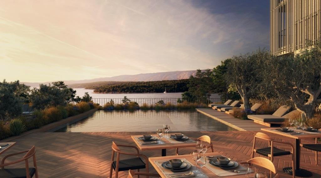 Terrasse des Maslina Resorts in Kroatien