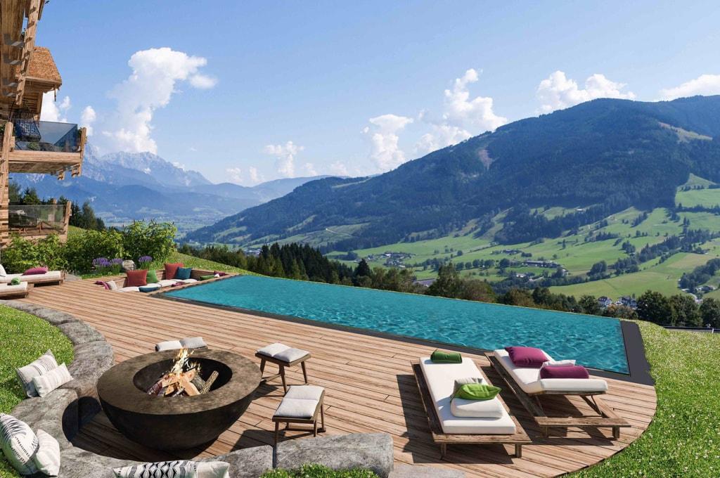 Pool mit Bergpanorama an den Senhoog Luxury Chalets