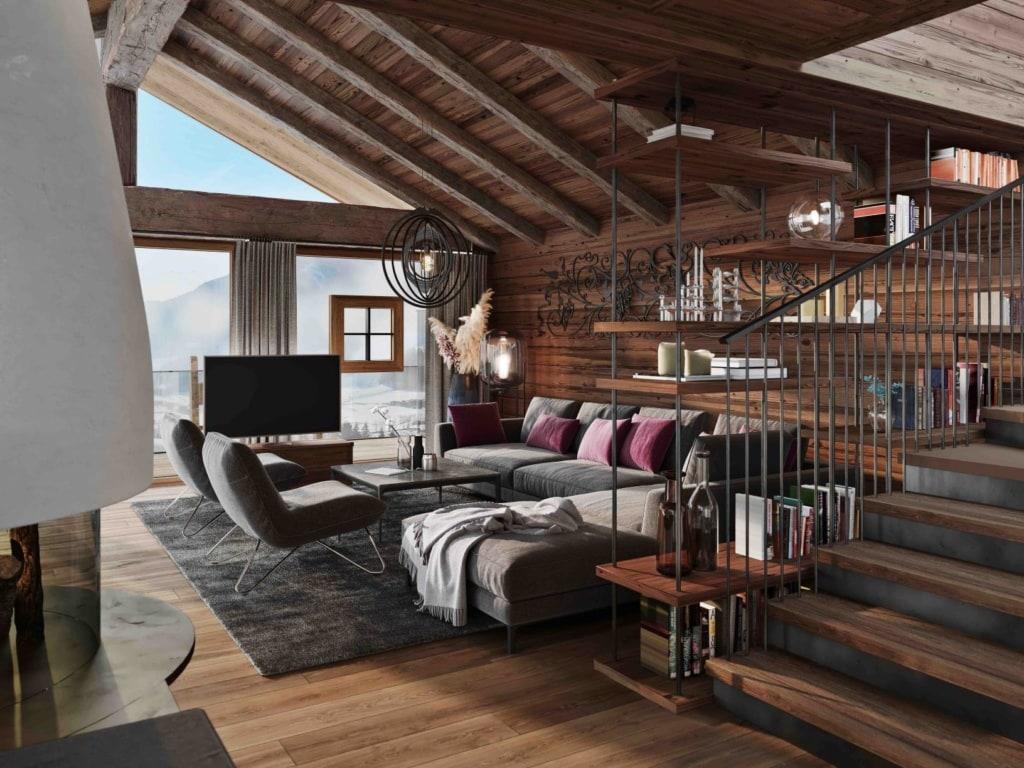 Wohnzimmer im Senhoog Luxus-Chalet