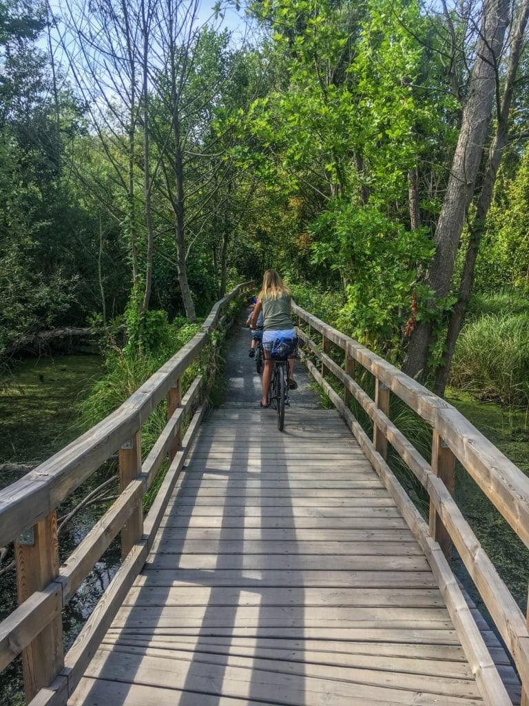 Fahrradfahrerin auf den Holzstegen im Tegeler Fließ