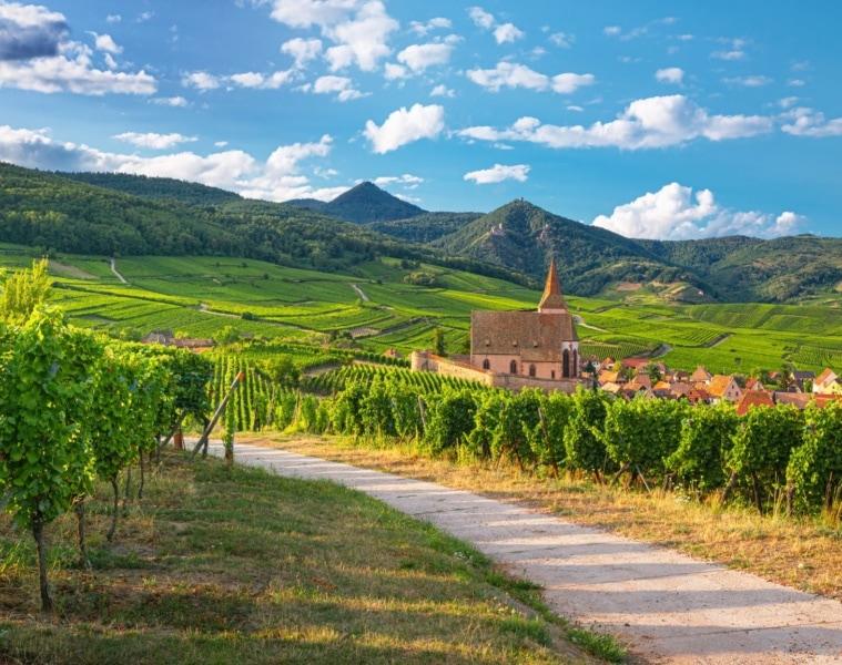 Panoramasicht auf die Kirche und das Weindorf Hunawihr inmitten der Weinberge im Elsass, Frankreich R