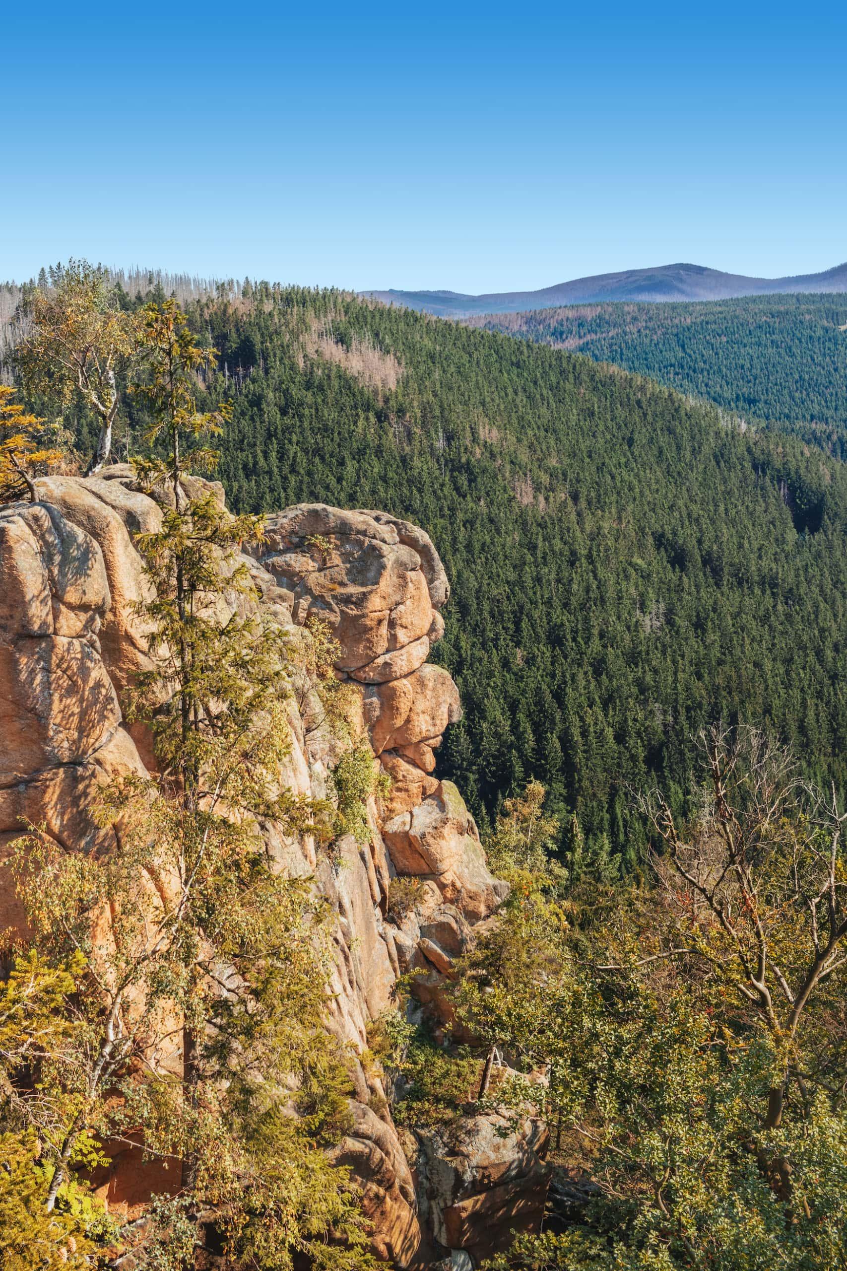 Rabenklippe im Harz Nationalpark, von der man Luchse beobachten kann