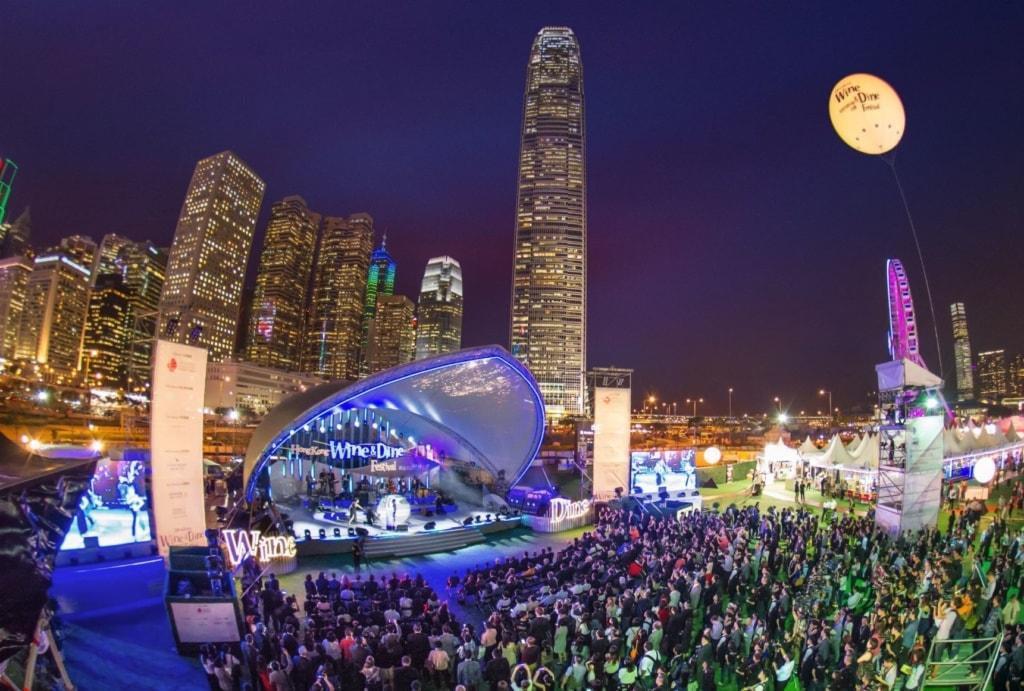 Veranstaltungsbühen beim Hongkong Wine Dine Festival