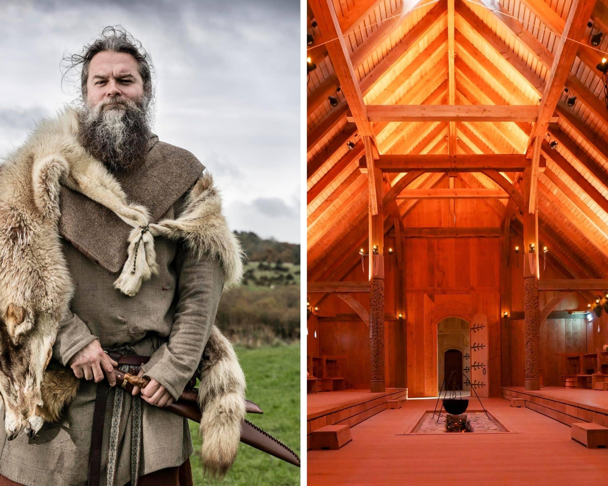 Die Königshalle in Gammel Lejre von innen und mit Wikinger