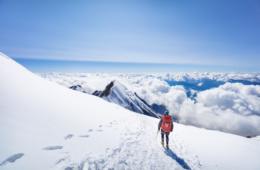 Bergsteiger auf dem Mont Blanc