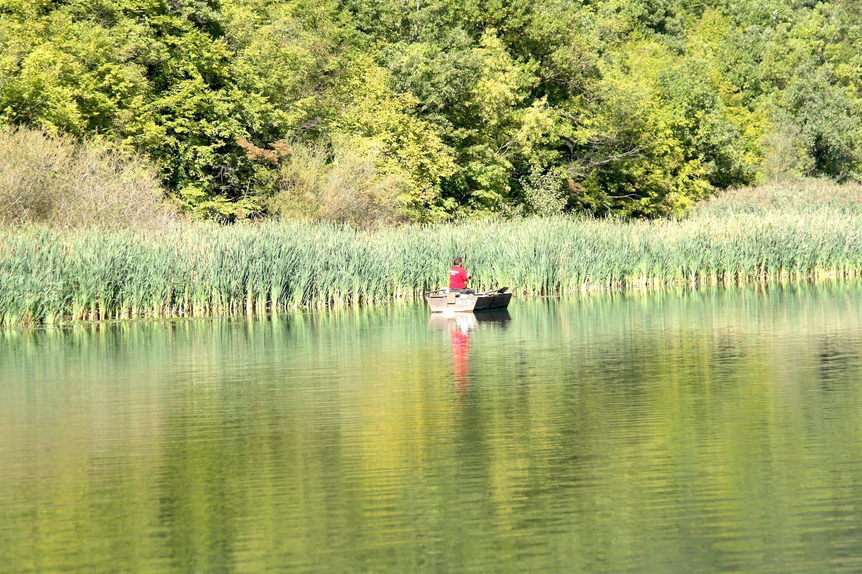 Boot auf dem Fluss Moraga in Serbien