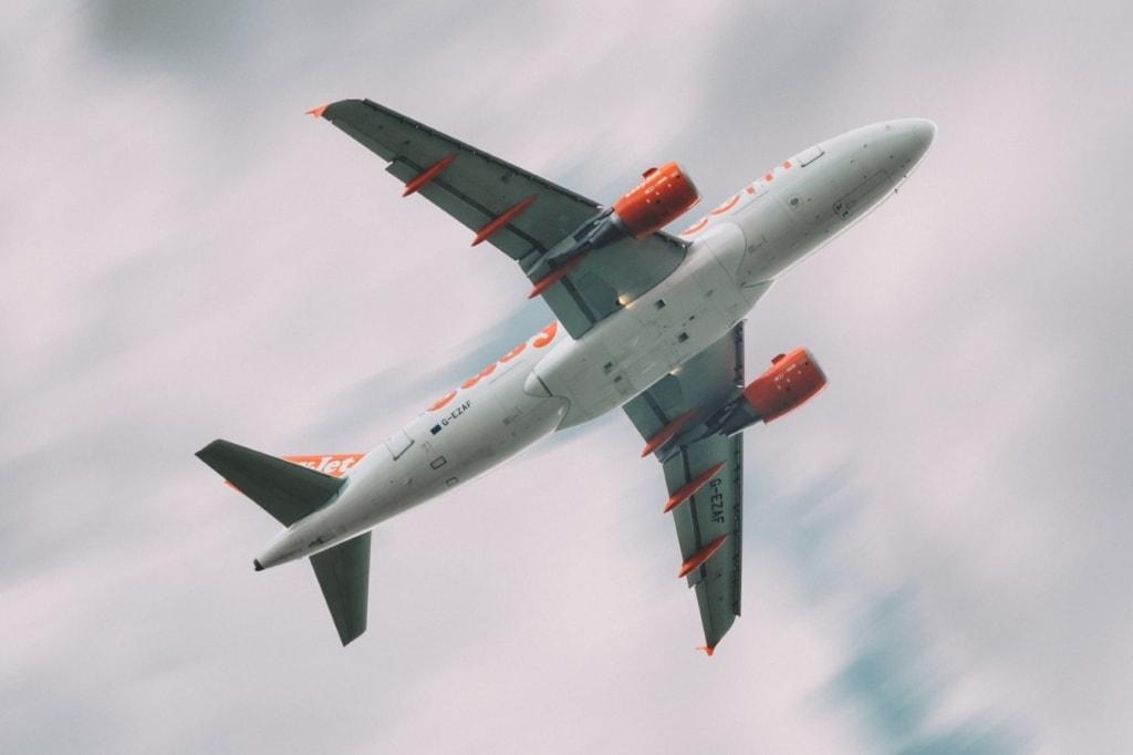 Easyjet-Flugzeug von unten