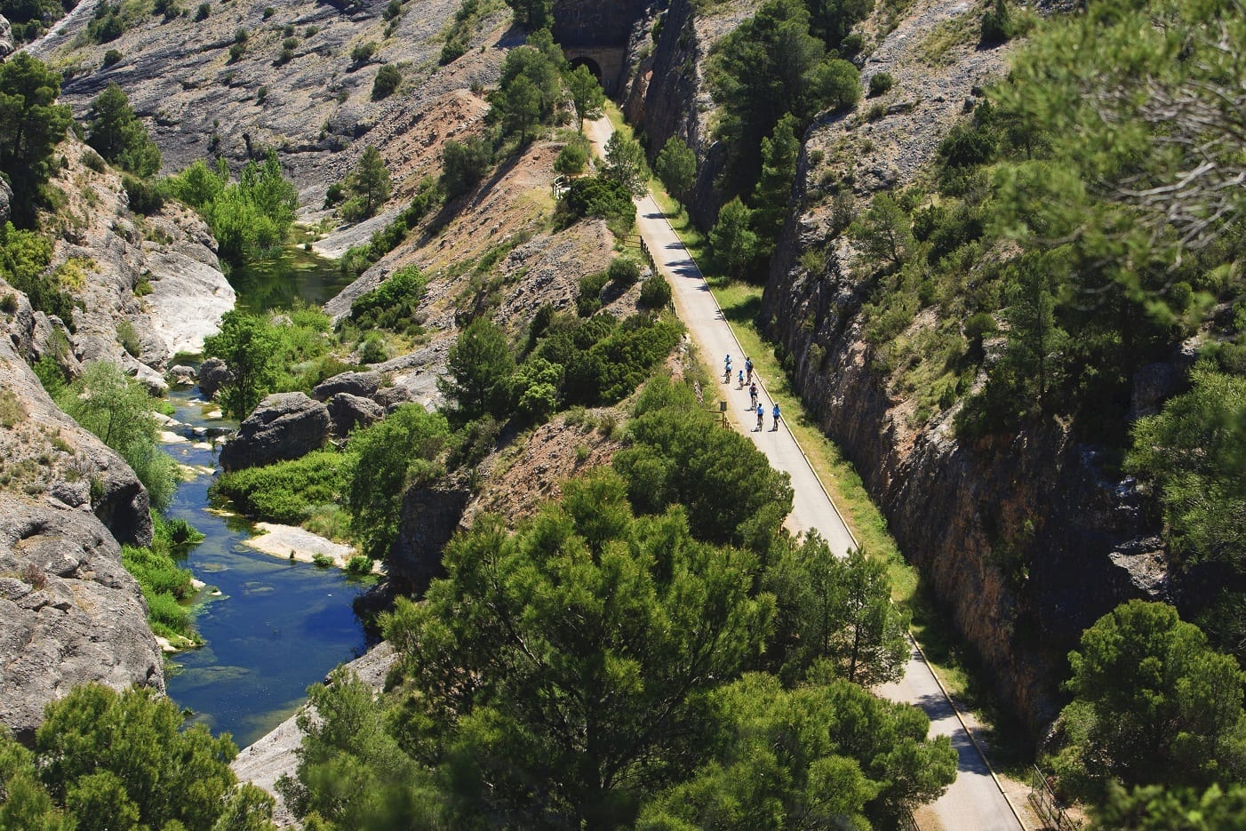 Radfahrer auf der Via Verde