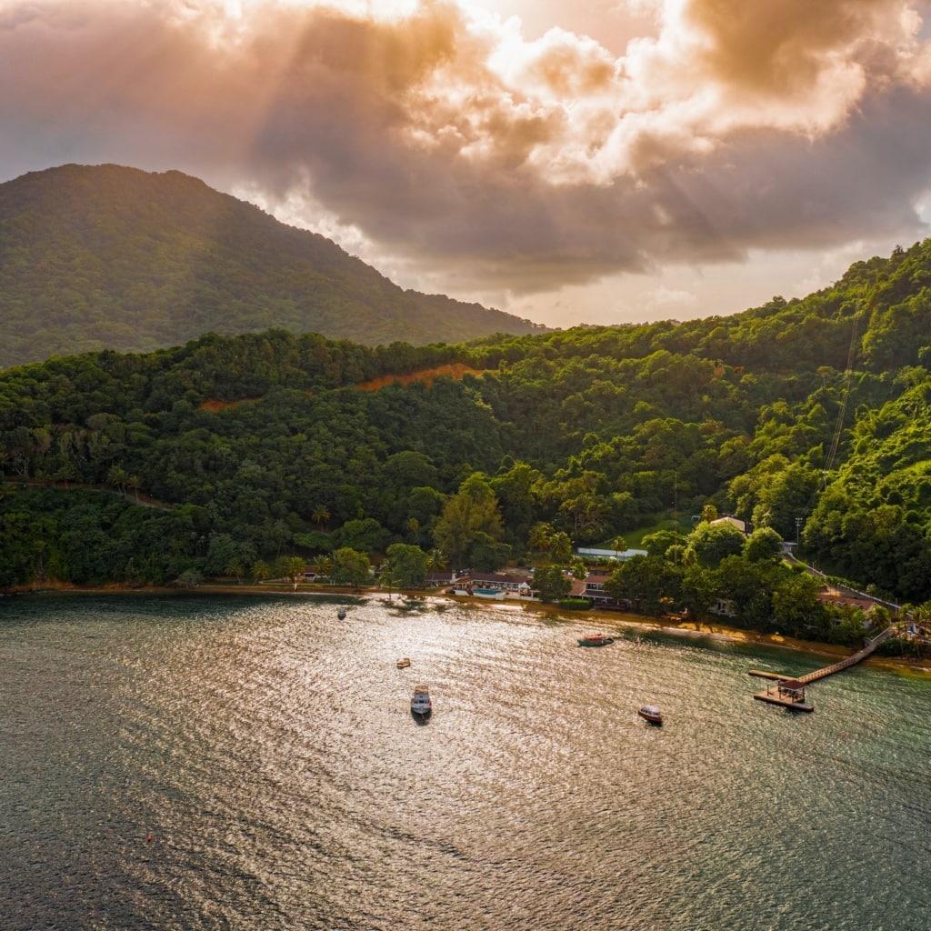 Blick auf eine Bucht in Tobago, dahinter dichter grüner Dschungel