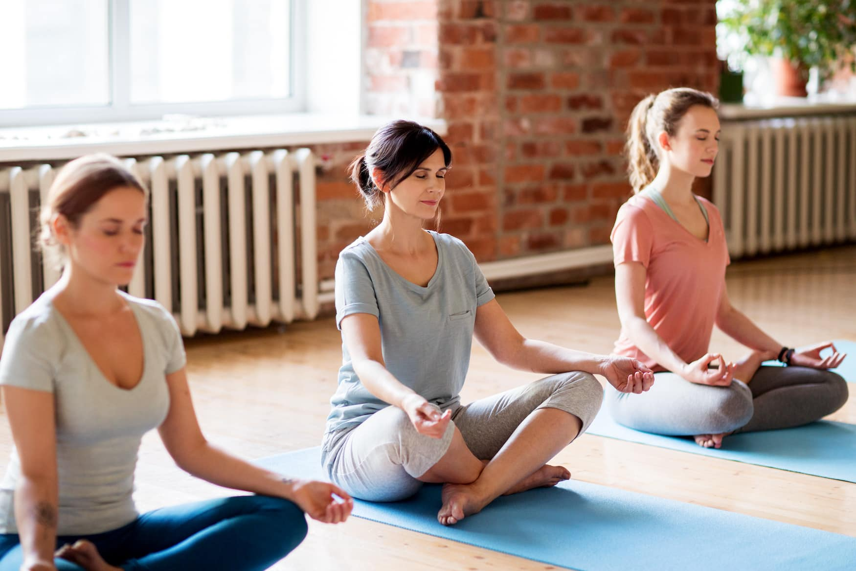 Gruppe Frauen während Yoga-Kurs