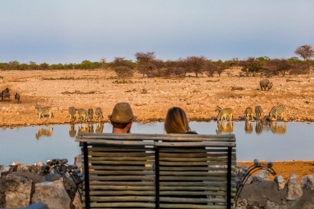 Junges Paar sitzt auf einer Bank und beobachtet Tiere am Fluss in Namibia