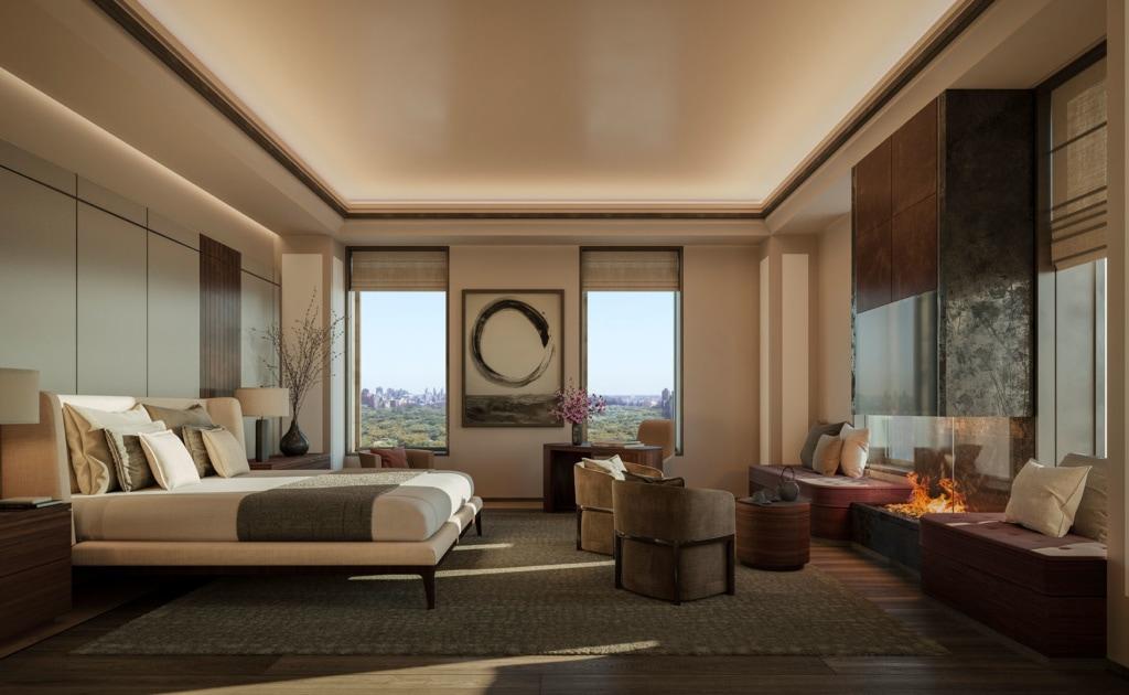 wunderschönes Zimmer im Aman in New York mit Kamin