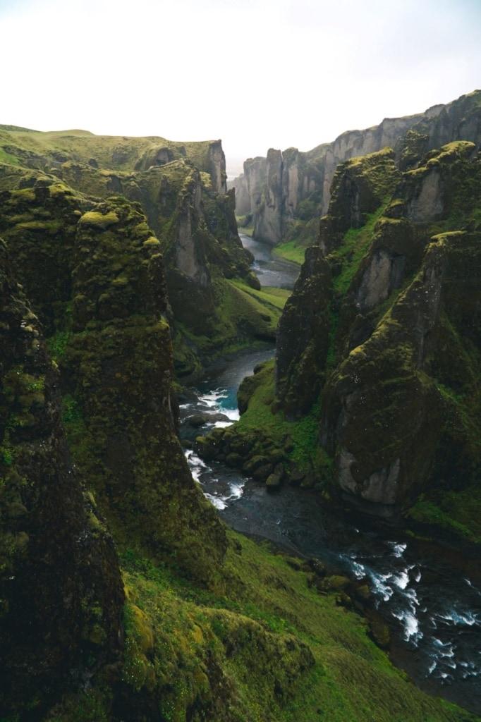 Grüne Schlucht in Island