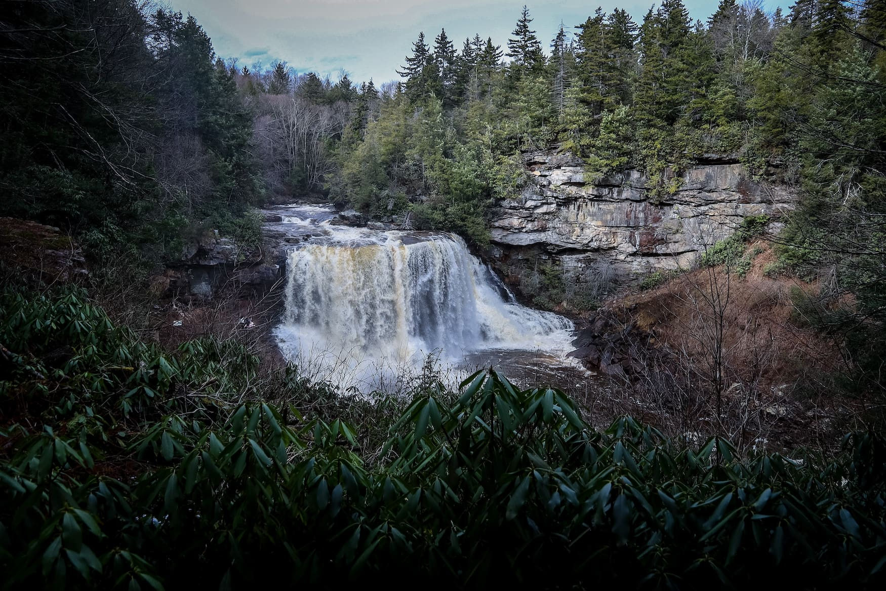Black Water Falls in dunkler Landschaft in West Virginia