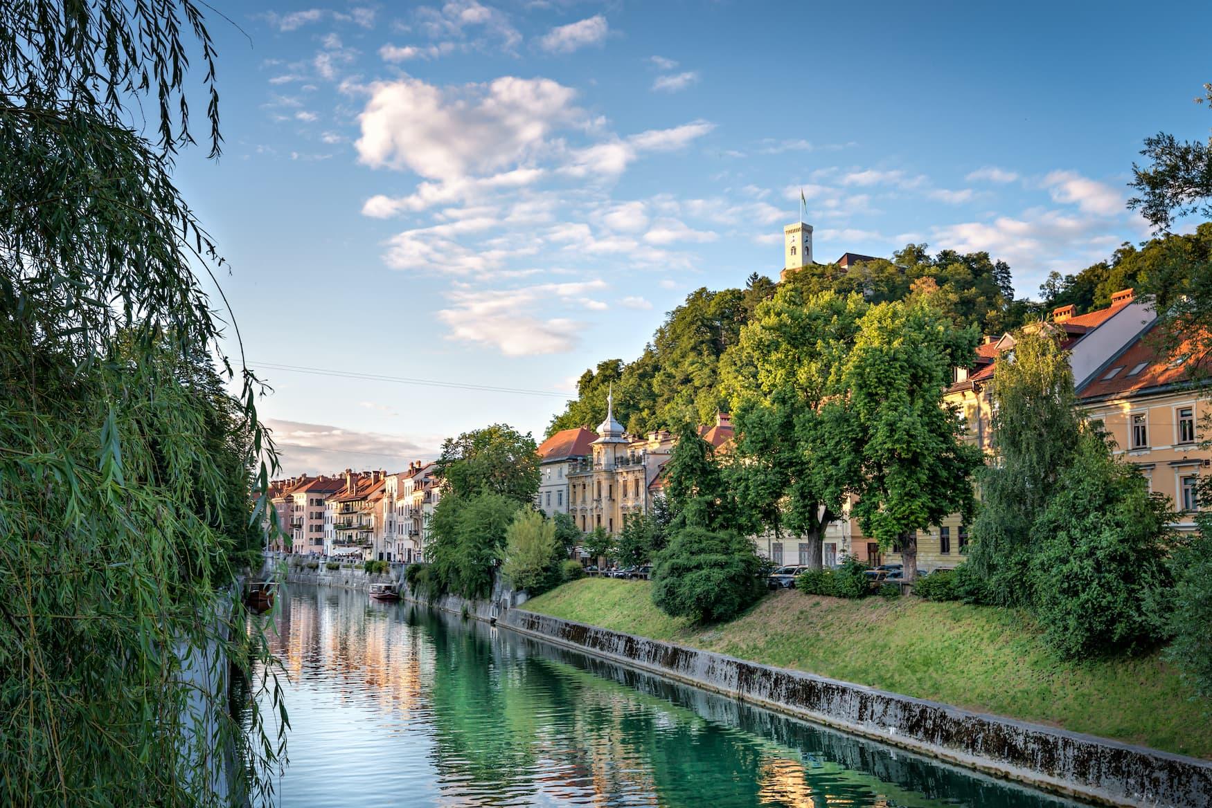 Schloss in Ljubljana, einer der nachhaltigen Städte in Europa