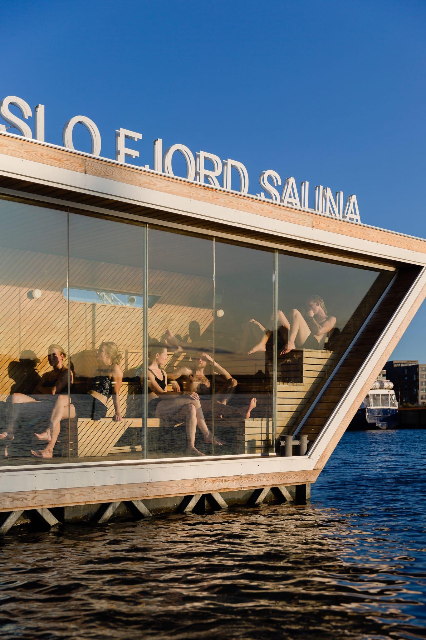 Schwimmende Sauna in Oslo, Norwegen
