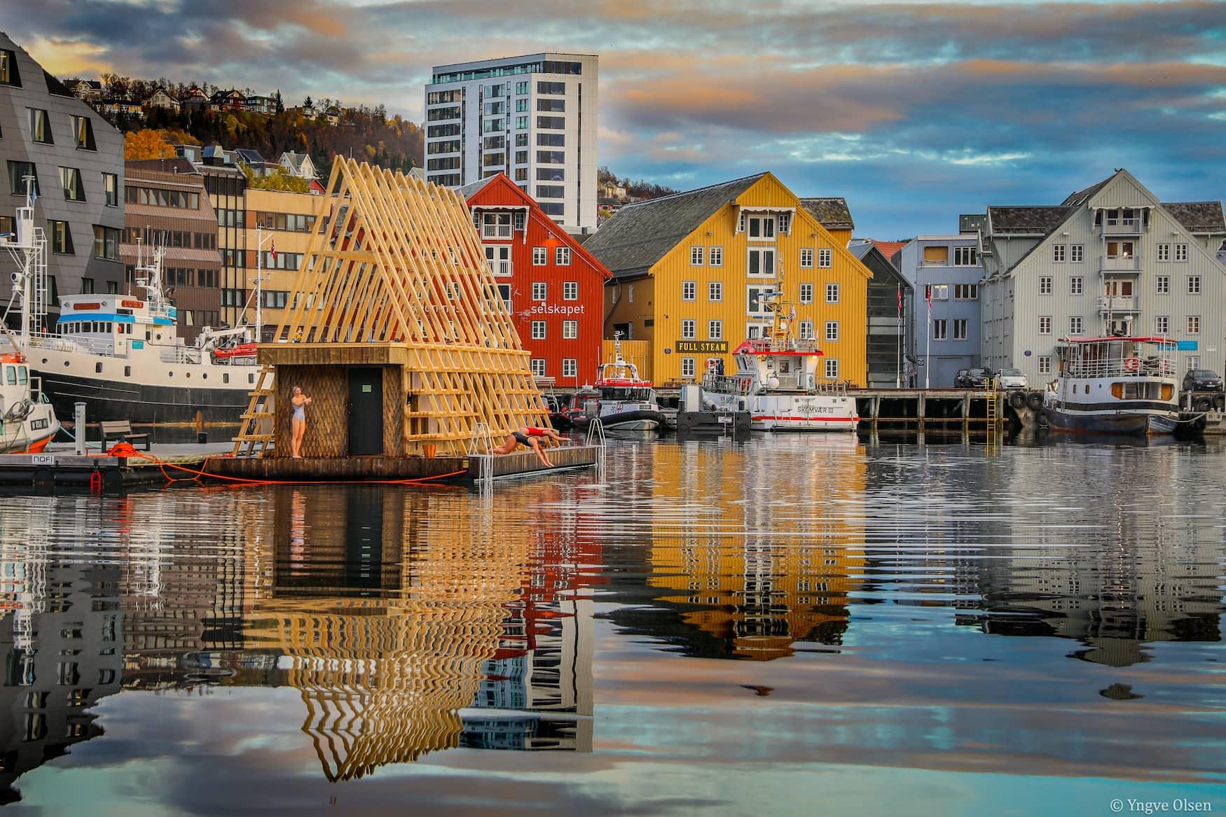 Pust Sauna im Hafenvon Tromso