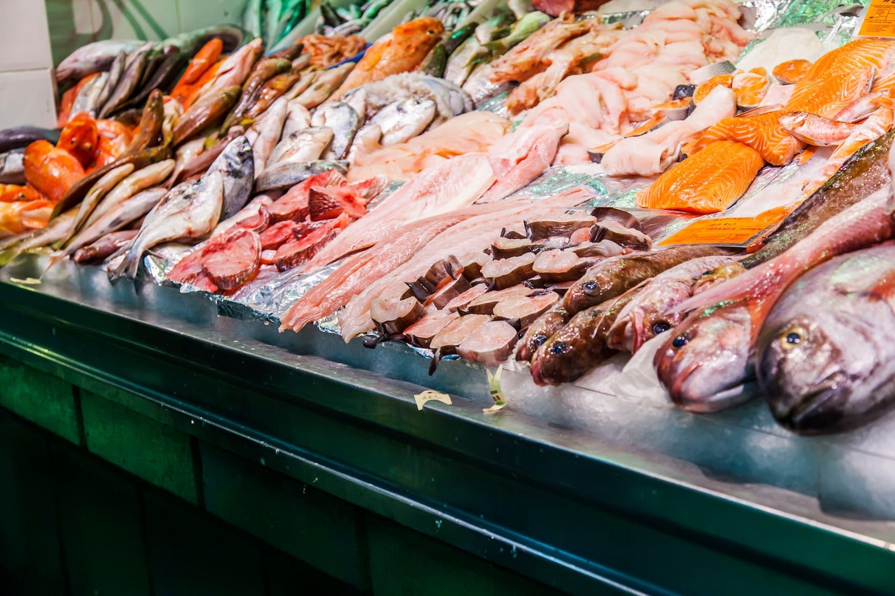 Frischer Fisch in Markthalle in Las Palmas, Gran Canaria, Spanien