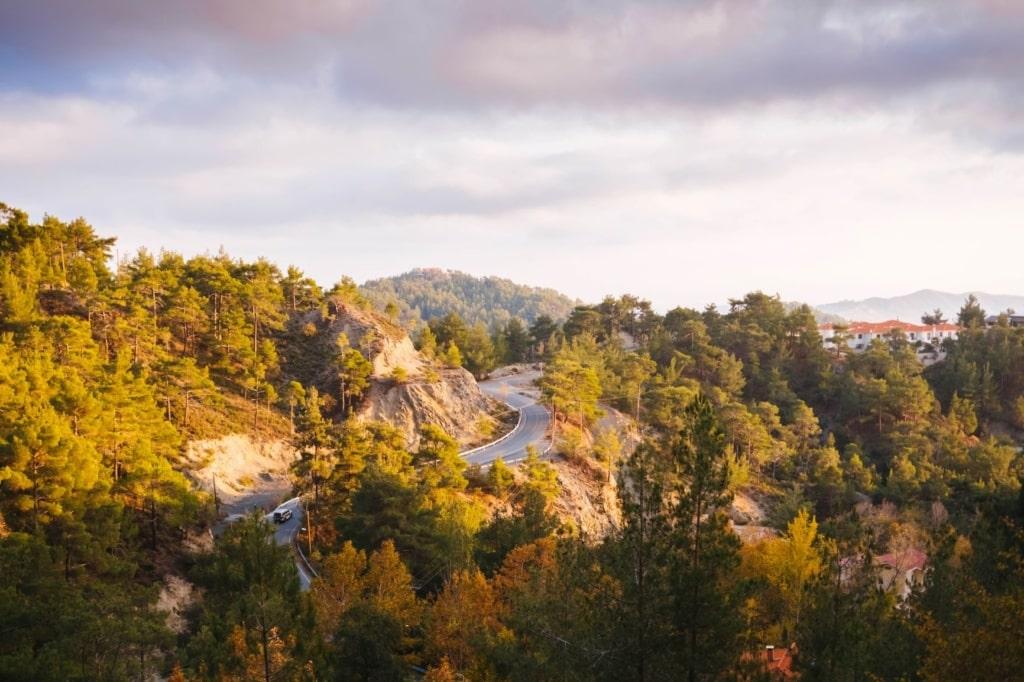 Straße, die auf Zypern durch ein Gebirge führt