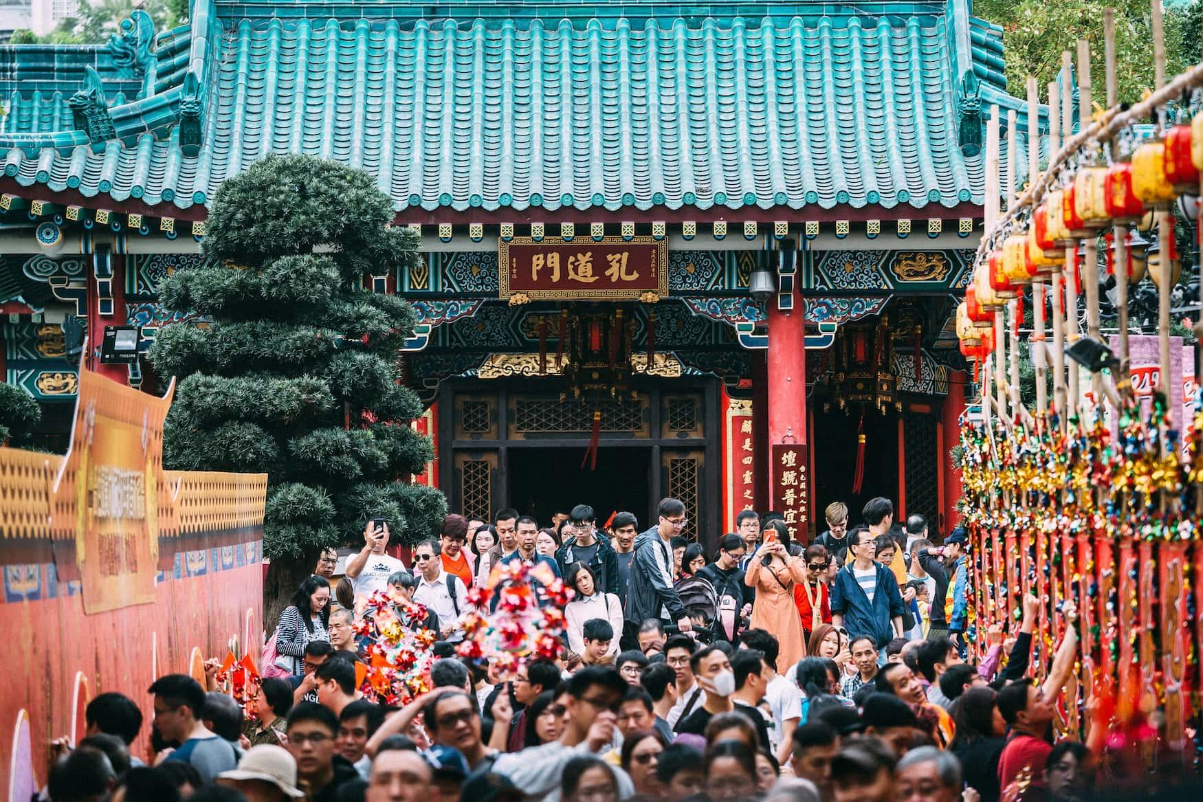 Zum chinesischen Neujahrsfest kommen die Menschen zum Wong Tai Sin-Tempel, um sich etwas zu wünschen.