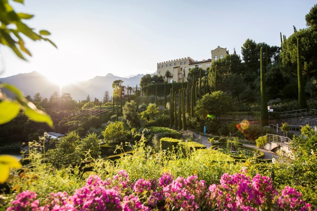 Frühling in Südtirol: Garten in Schloss Trauttmansdorff in Meran