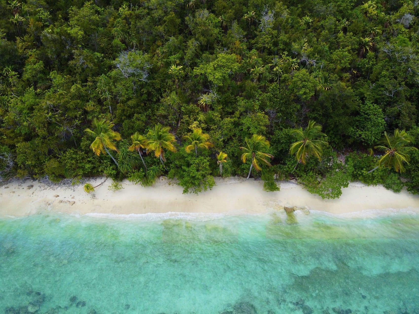 Ein einsamer Strand in Raja Ampat.