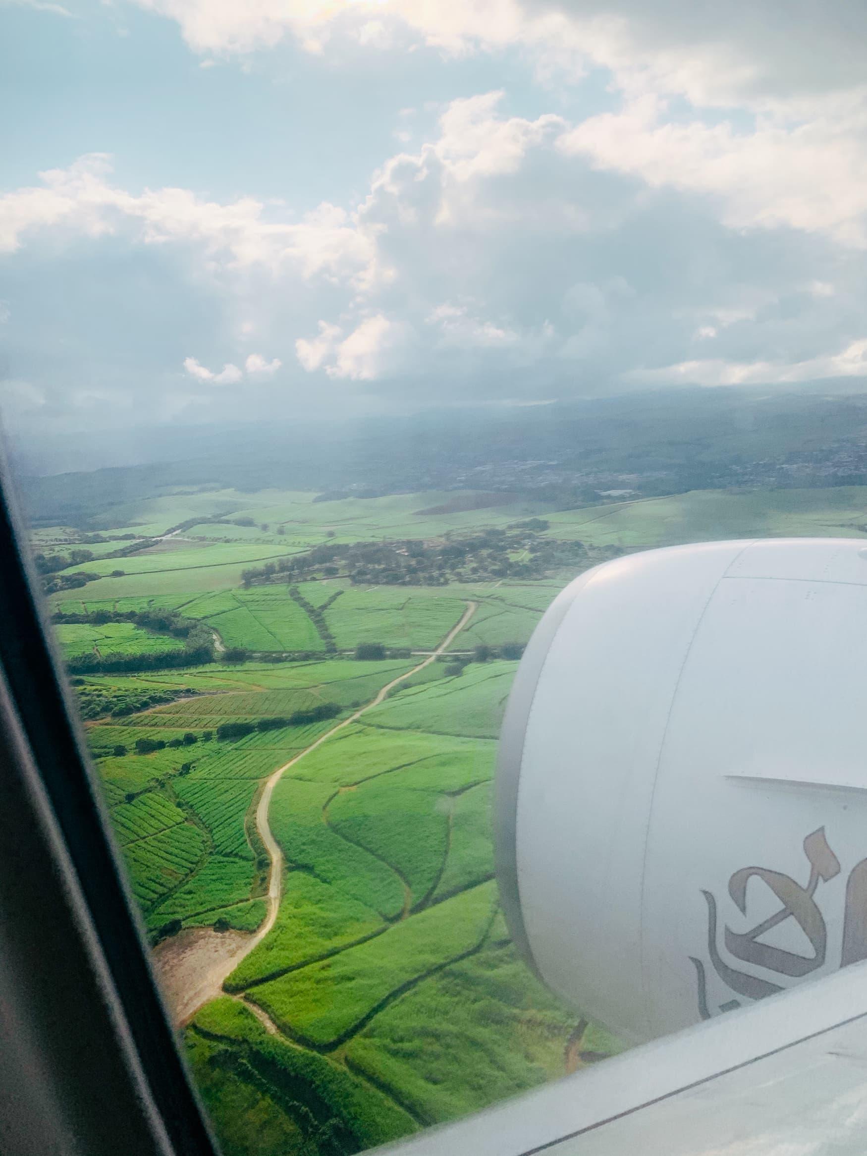 Blick aus Flugzeug auf die südafrikanische Landschaft bei Durban