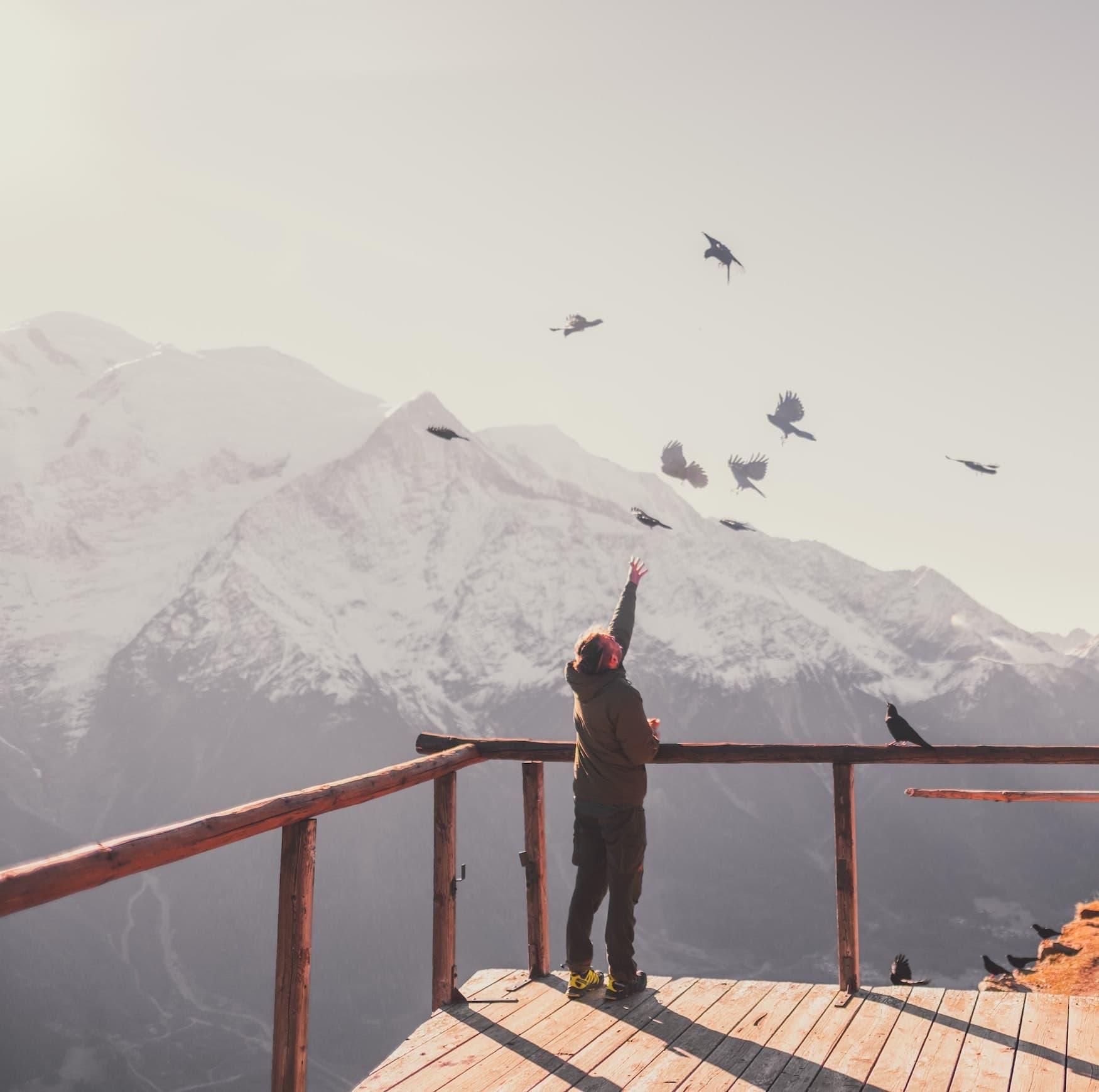 Mann steht auf Bergplateau und streckt Arm nach Vögeln aus