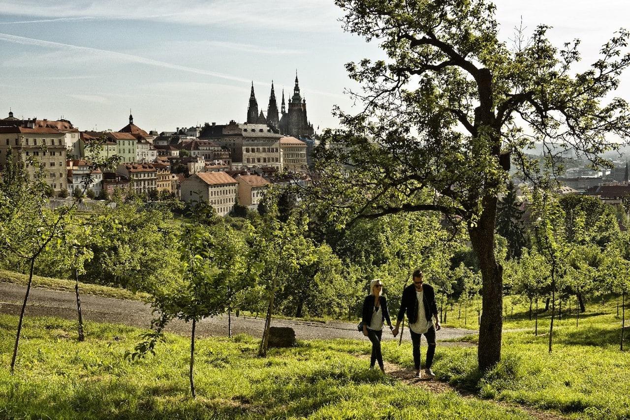 Blick auf die Prager Burg während eines Spaziergangs