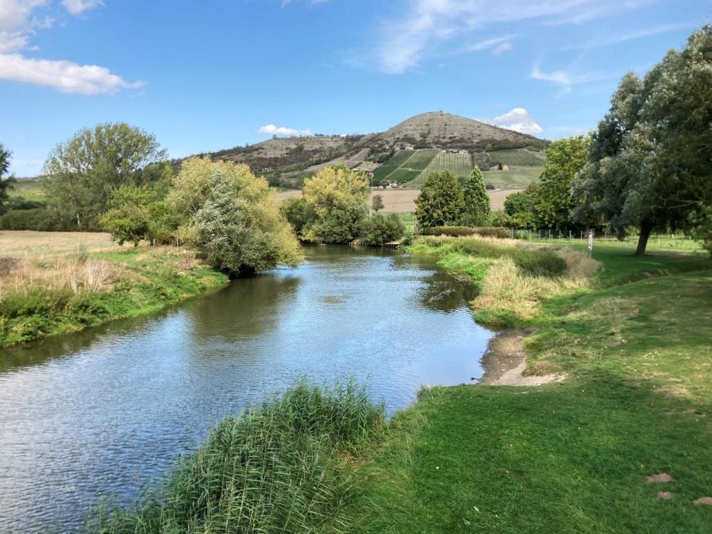 Die Unstrut ist bei Freyburg immerhin zu einem ansehnlichen Fluss geworden.