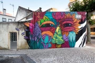 Bunte Straßenkunst im Centro de Portugal