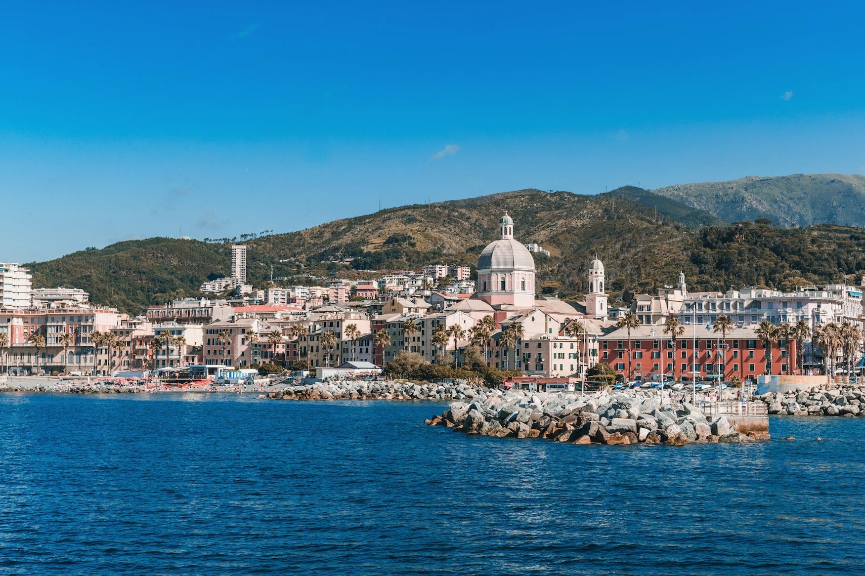 Aussicht auf den Fischerorte Peil bei Genua, Italien