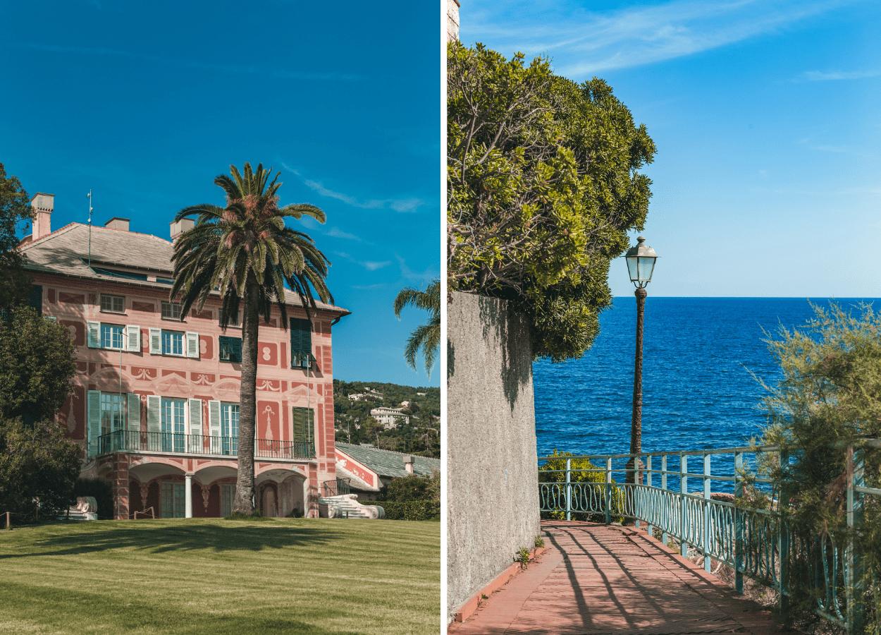 Passeggiata Anita Garibaldi entlang der Küste mit einer der schönsten Aussichtspunkte in Genua