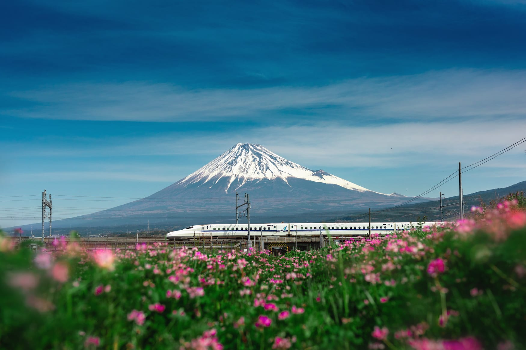 Japanischer Schnellzug Sakura Shinkansen fährt an Mount Fuji vorbei