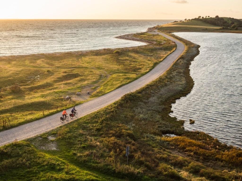 Radfahrer auf der dänischen Inseln Fünen