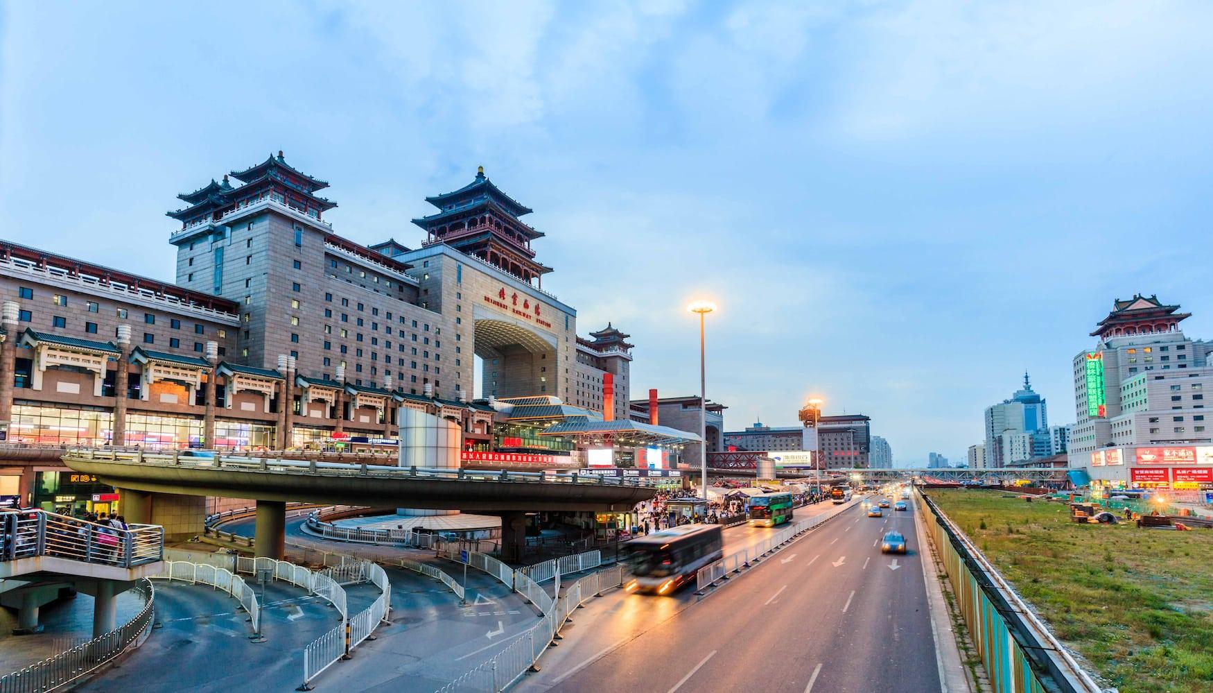 Westbahnhof in Peking bei Nacht
