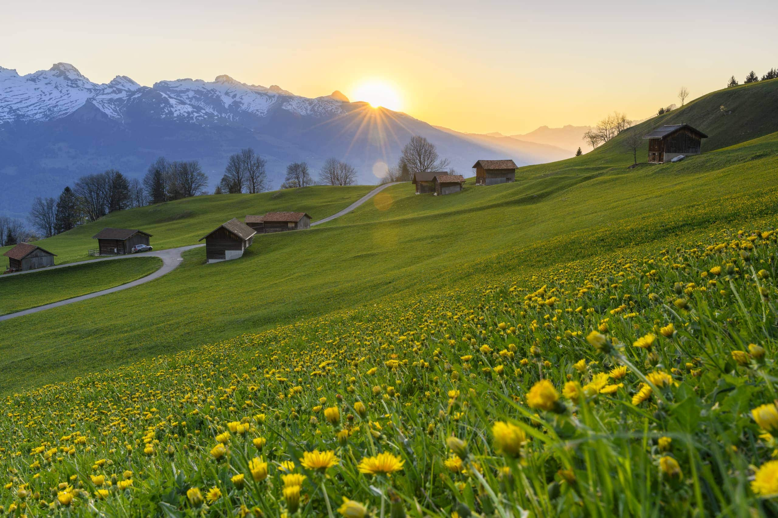 Sonnenaufgang bei Silum in Triesenberg