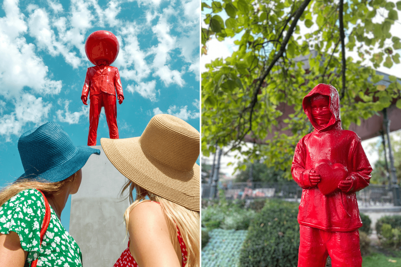 Street Art in Toulouse: Rote Skulpturen