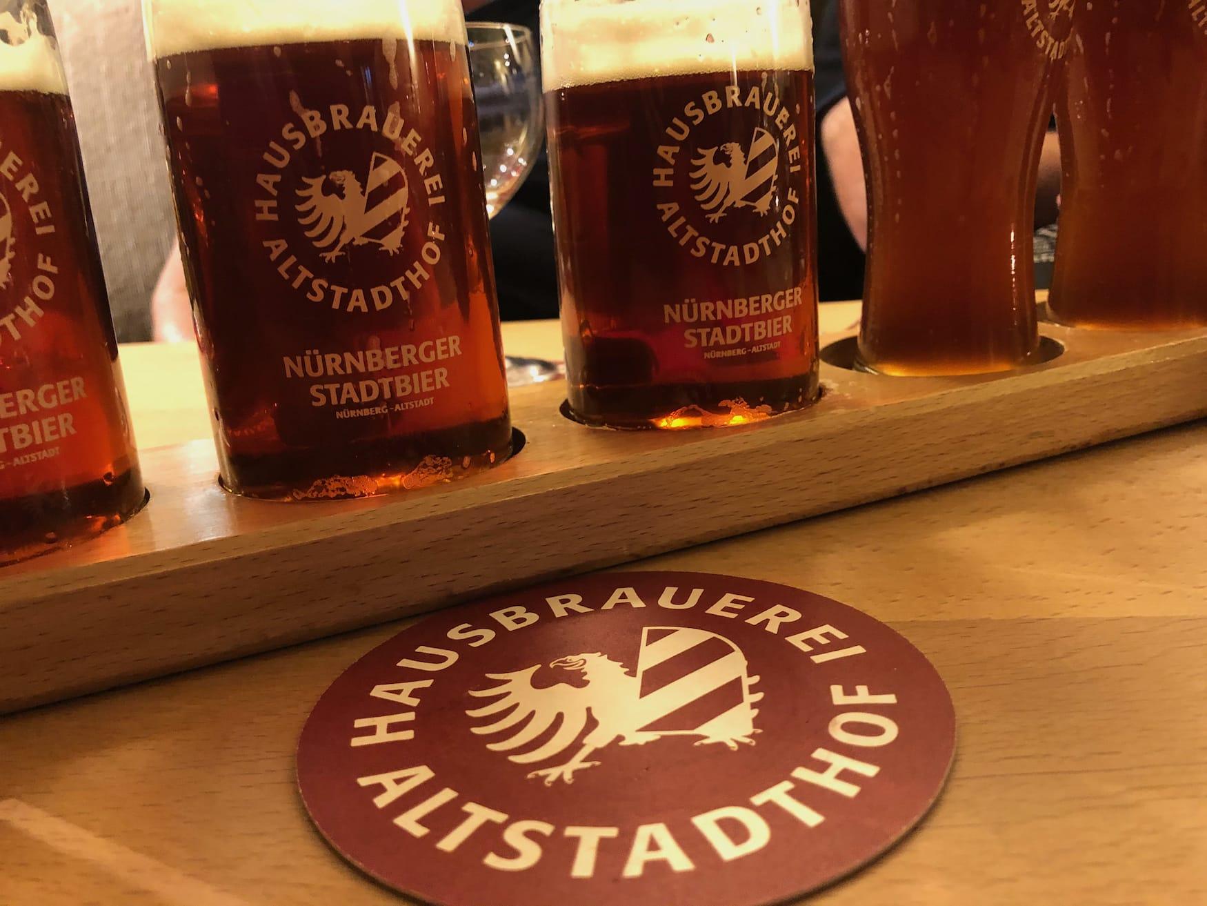 Craft Beer in einer der Brauereien in Europa, in der Hausbrauerei Altstadthof in Nürnberg