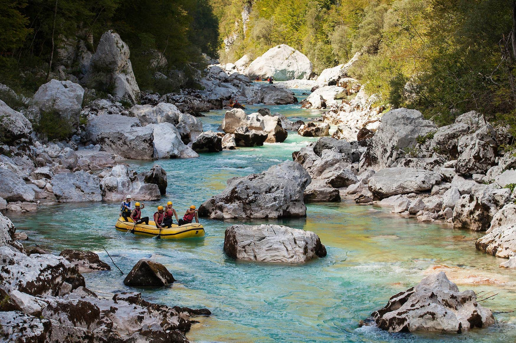 Action in Slowenien beim Rafting
