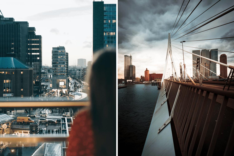 Frau blickt über den Bahnhof in Rotterdam, ab dem man mit Interrail durch Europa reisen kann