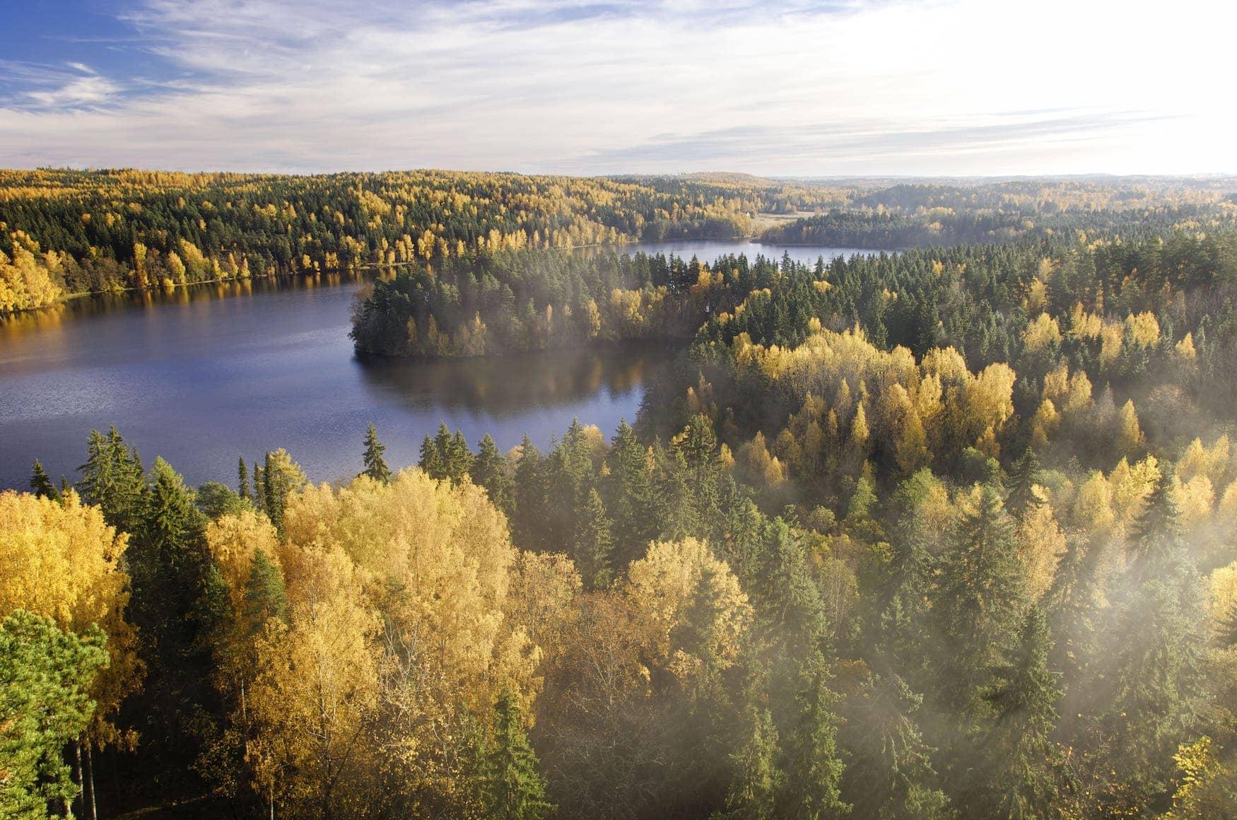 Herbstliche Seenlandschaft in Finnland
