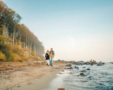 Eine Wanderung an der Steilküste vor Heiligendamm ist gerade im Herbst ein Erlebnis für die Sinne: Der atemberaubende Blick über die Weite der Ostsee, die kühle Brise auf der Haut, der Duft des herbstlichen Buchenwaldes, das Knirschen des Meeres, wenn es am Ufer über die Steine rollt. | TMV/Petermann