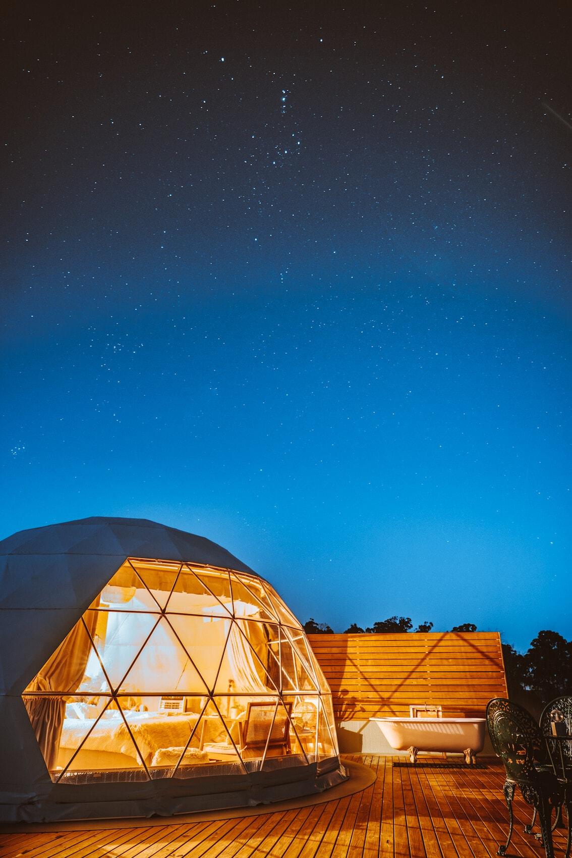Unterkunft im Domescapes, Tasmanien