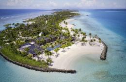 The Ritz-Carlton Estate auf den Malediven aus der Vogelperspektive