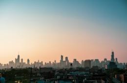 Skyline Chicagos bei Sonnenuntergang
